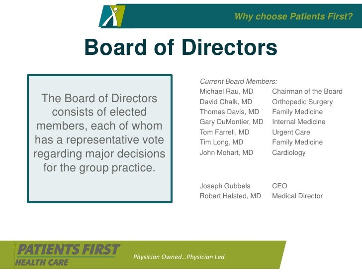 Why choose Patients First?            Board of Directors                                        Current Board Members:    ...