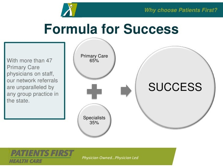 Why choose Patients First?                  Formula for Success                         Primary Care With more than 47    ...