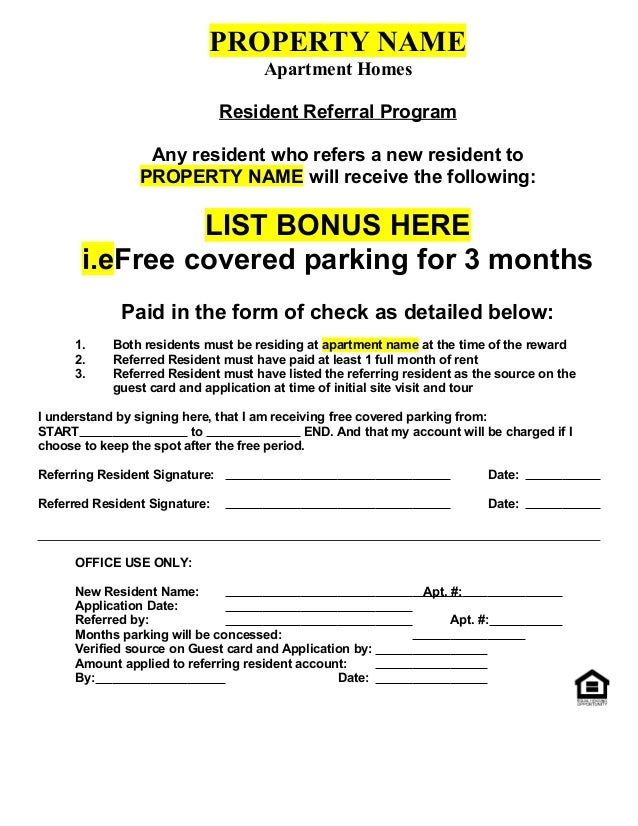 Resident Referral Form (Non-Cash)