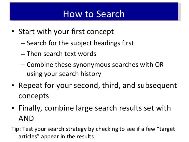 How To Conduct A Systematic Search
