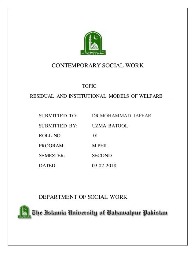 Residual and institutional view of social welfare