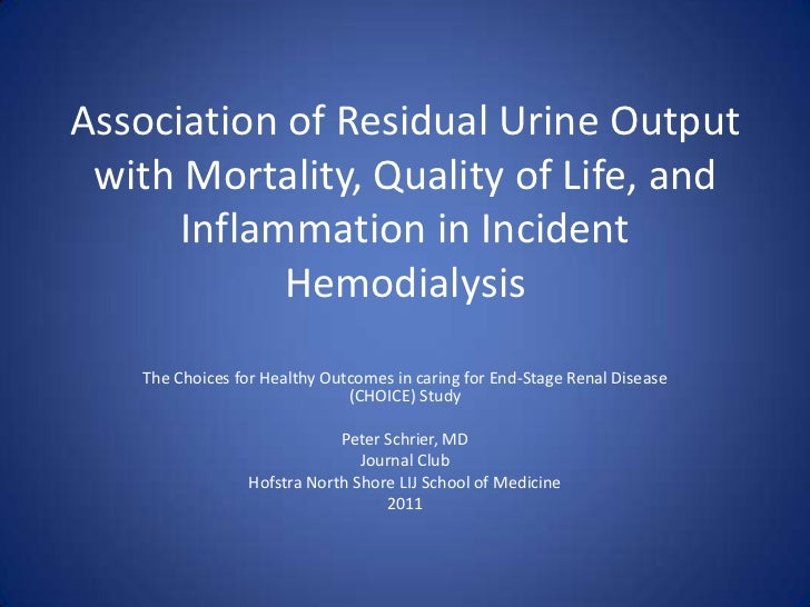 Journal Club: Residual renal function