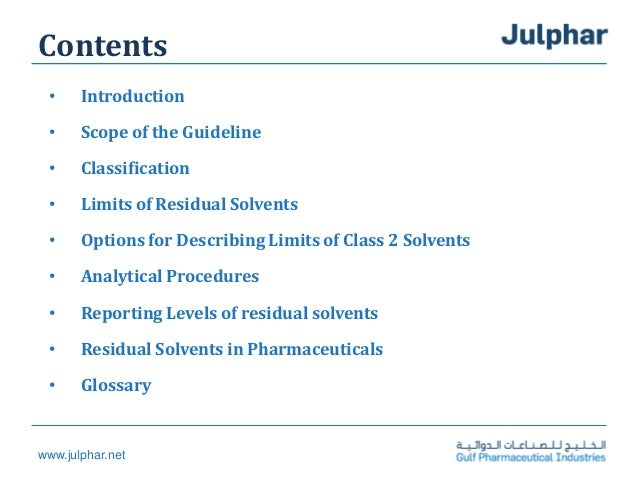 Residual solvents Slide 2