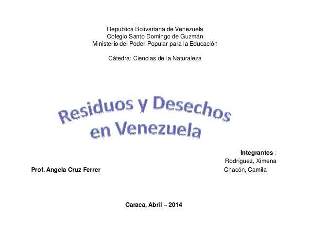 Republica Bolivariana de Venezuela Colegio Santo Domingo de Guzmán Ministerio del Poder Popular para la Educación Cátedra:...