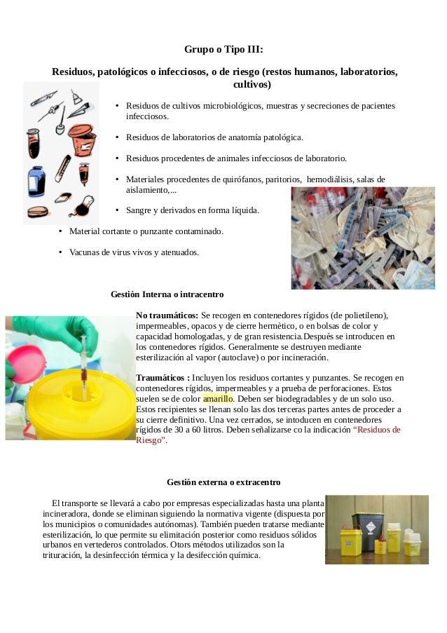 Residuos sanitarios y su gestión