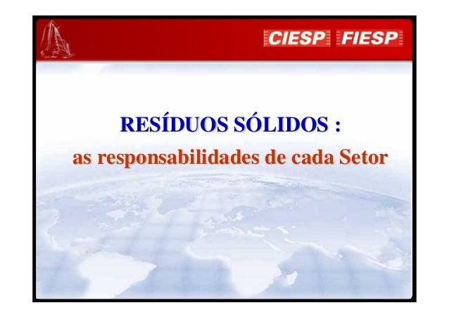 RESRESÍÍDUOS SDUOS SÓÓLIDOS :LIDOS : as responsabilidades de cada Setoras responsabilidades de cada Setor