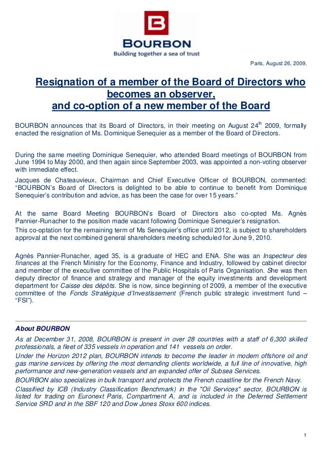 press release resignation of a member of the board of