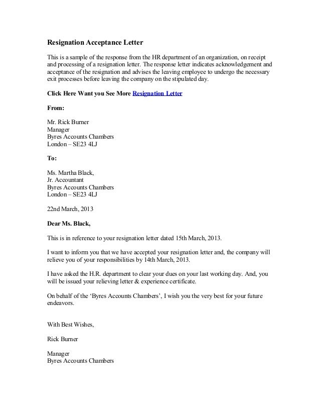 Resignation Acceptance Letter This Is A Sample Of The Response From The HR  Department Of An