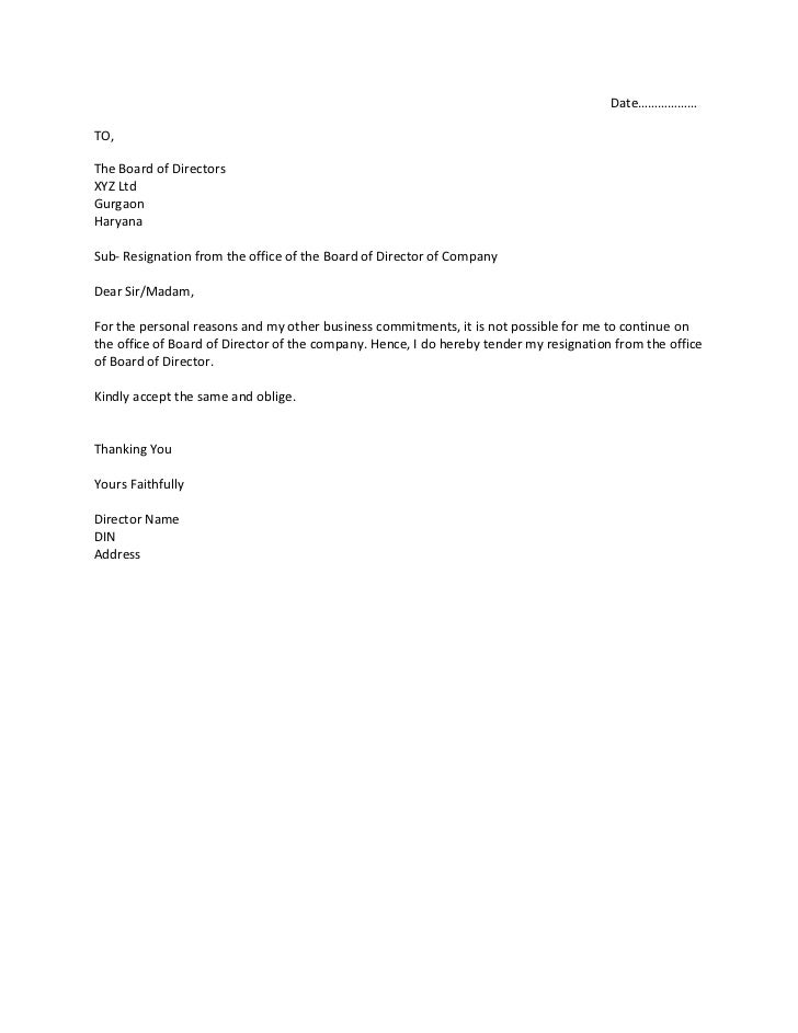 resignation from the office of the board of director of compa