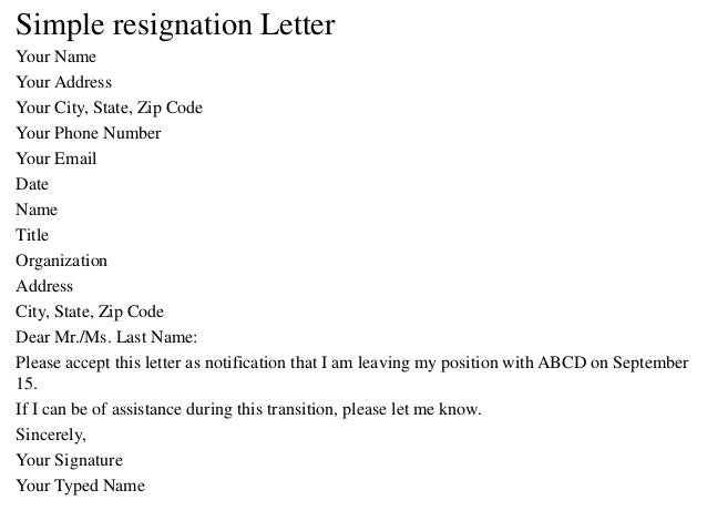 Your Name; 13. Simple Resignation Letter ...