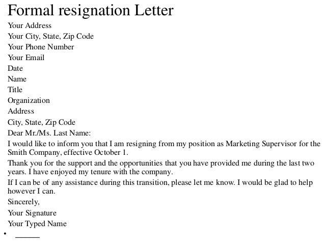 Formal Resignation Letter ...