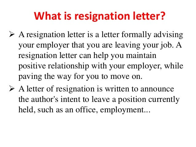 what is a resignation letter