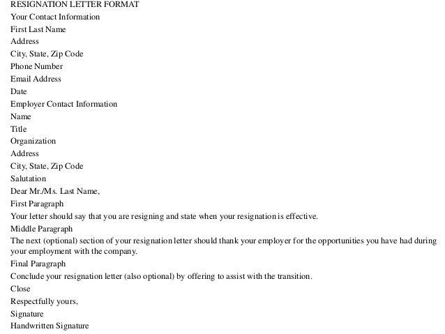 resignation letter formats