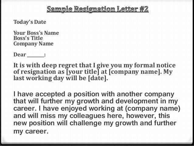 Company Resignation Letter Find This Template For Writing A
