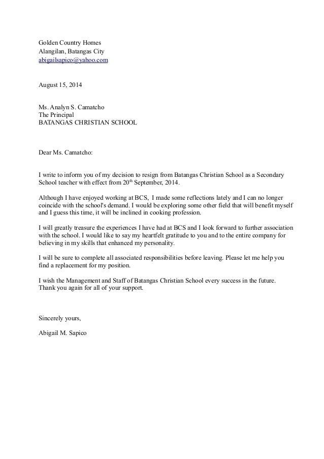 Teacher Resignation Letters TeacherLetterOfResignationTeacher