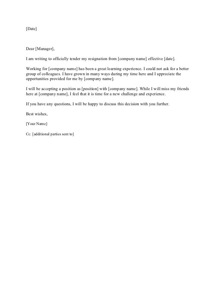 Irrevocable Resignation Letter Template