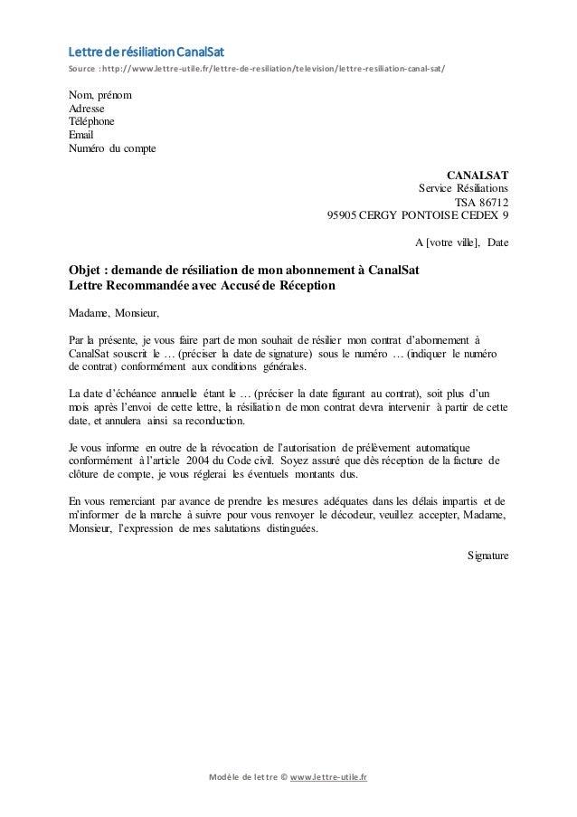 lettre de résiliation canal plus gratuit Résiliation CanalSat   Modèle de lettre gratuit lettre de résiliation canal plus gratuit