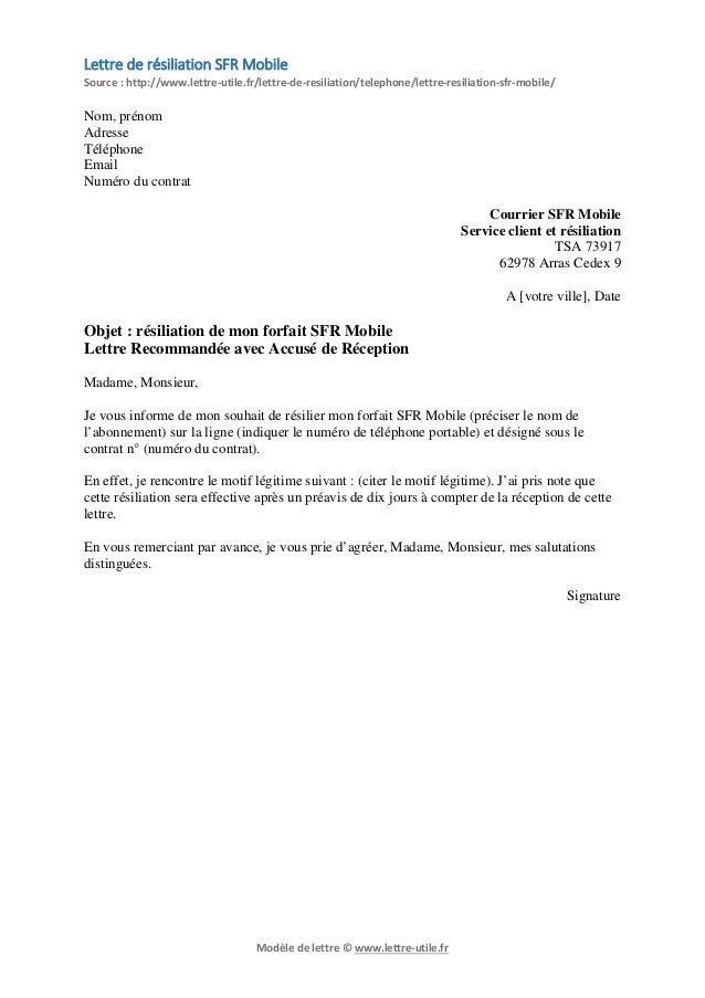Lettre de résiliation SFR Mobile Source  http//www.lettre,utile