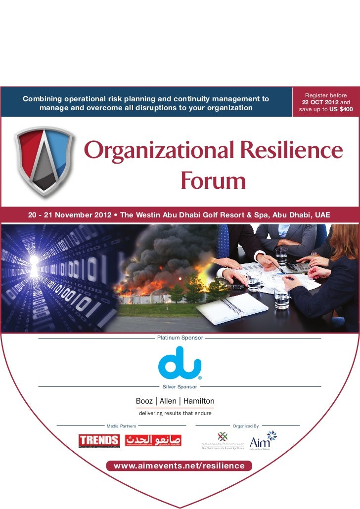 Register beforeCombining operational risk planning and continuity management to         22 OCT 2012 and   manage and overc...