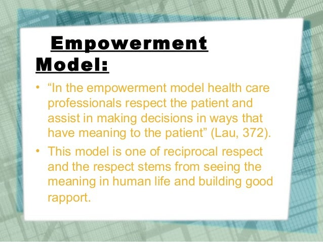 "meaning of empowerment ""empowerment"" has become a popular term in mental health programs, yet it has lacked a clear definition in a research project designed to measure empowerment in programs funded by and for mental health services users, we first undertook to come up with a working definition."