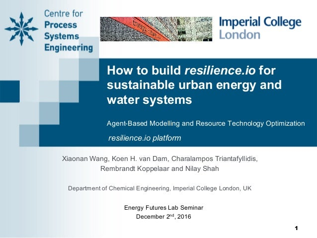 How to build resilience.io for sustainable urban energy and water systems Agent-Based Modelling and Resource Technology Op...
