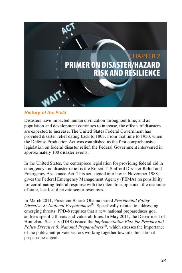 Resilience managing the risk of natural disaster