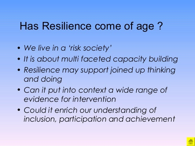 the four factors in the process of resilience Resilience is the process of adapting to difficult or challenging life experiences, says the late al siebert, phd, founder of the resiliency center in portland, ore curious to know how your own resilience rates.