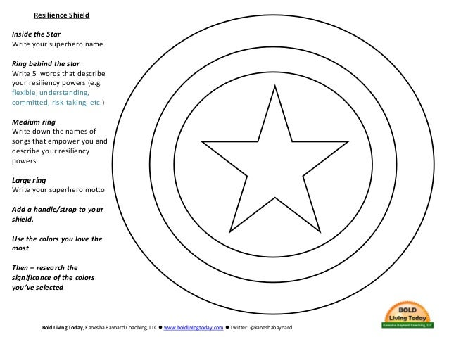 Resilience Shield Inside the Star Write your superhero name Ring behind the star Write 5 words that describe your resilien...