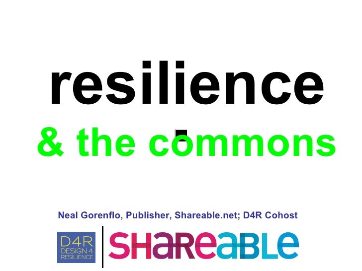 Neal Gorenflo, Publisher, Shareable.net; D4R Cohost resilience & the commons