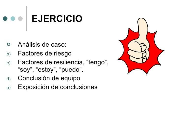 "EJERCICIO <ul><li>Análisis de caso: </li></ul><ul><li>Factores de riesgo </li></ul><ul><li>Factores de resiliencia, ""tengo..."