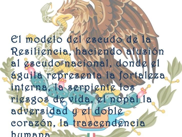 <ul><li>El modelo del escudo de la Resiliencia, haciendo alusión al escudo nacional, donde el águila representa la fortale...