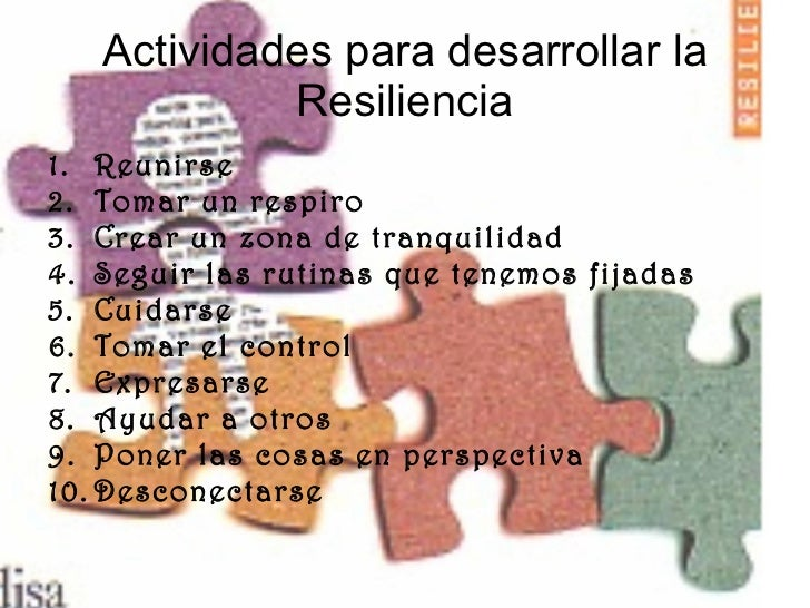 Actividades para desarrollar la Resiliencia <ul><li>Reunirse </li></ul><ul><li>Tomar un respiro </li></ul><ul><li>Crear un...