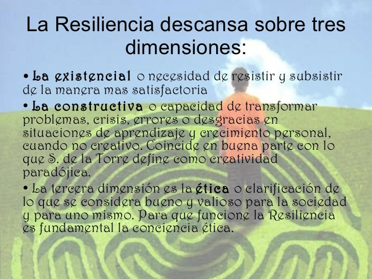 La Resiliencia descansa sobre tres dimensiones: <ul><li>•  La existencial  o necesidad de resistir y subsistir de la maner...