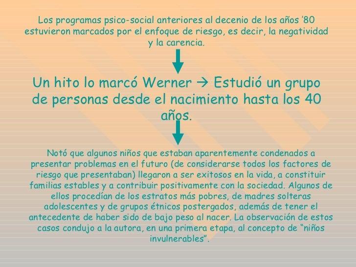 Los programas psico-social anteriores al decenio de los años '80 estuvieron marcados por el enfoque de riesgo, es decir, l...