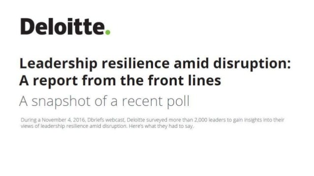 Leadership resilience amid disruption: A report from the front lines