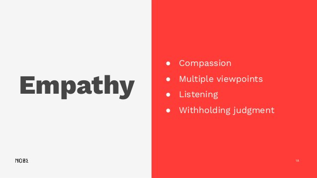 Empathy 18 ● Compassion ● Multiple viewpoints ● Listening ● Withholding judgment