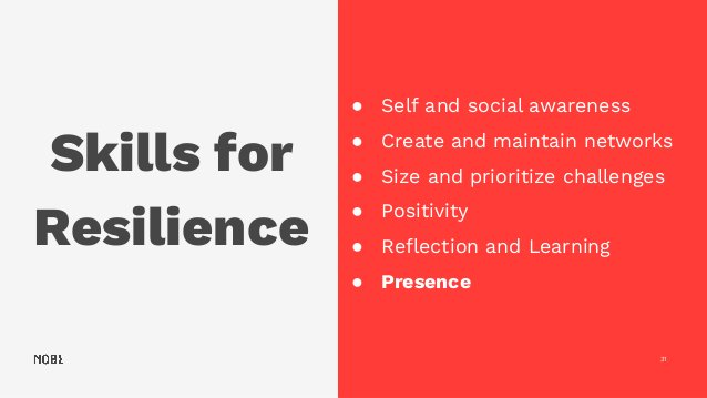 Skills for Resilience 31 ● Self and social awareness ● Create and maintain networks ● Size and prioritize challenges ● Pos...