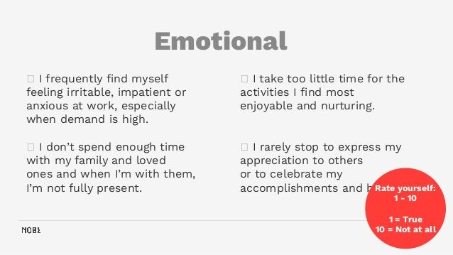 Emotional 36 🗸 I take too little time for the activities I find most enjoyable and nurturing. 🗸 I rarely stop to express my...