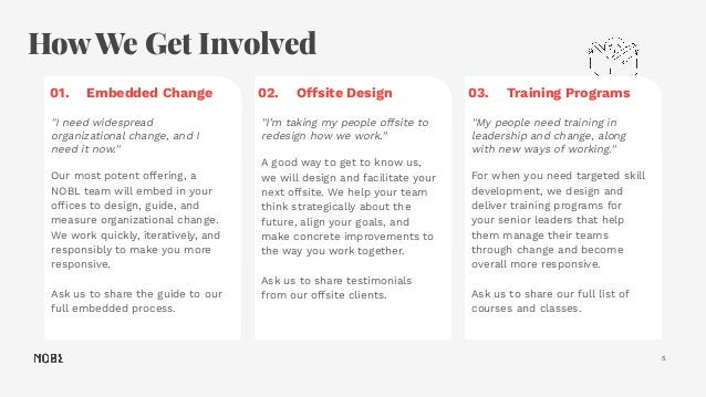 """How We Get Involved 5 01. Embedded Change """"I need widespread organizational change, and I need it now."""" Our most potent of..."""