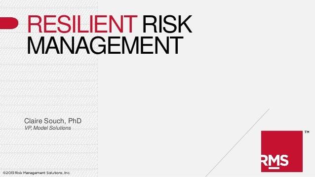 RESILIENT RISK            MANAGEMENT           Claire Souch, PhD           VP, Model Solutions©2013 Risk Management Soluti...