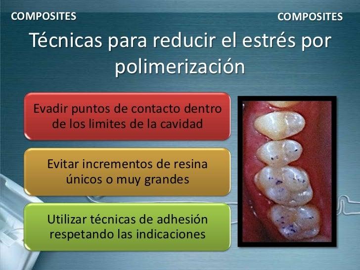 COMPOSITES                            COMPOSITES  Técnicas para reducir el estrés por            polimerización   Evadir p...