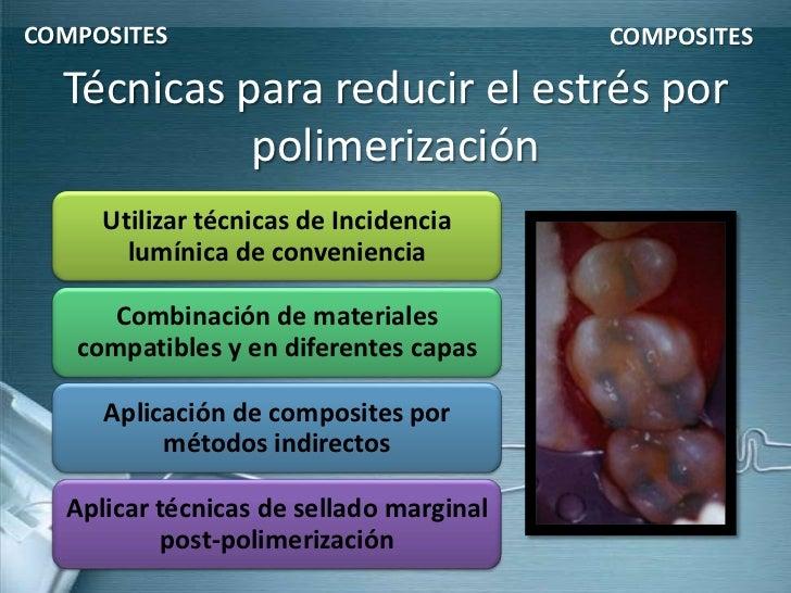 COMPOSITES                               COMPOSITES  Técnicas para reducir el estrés por            polimerización     Uti...