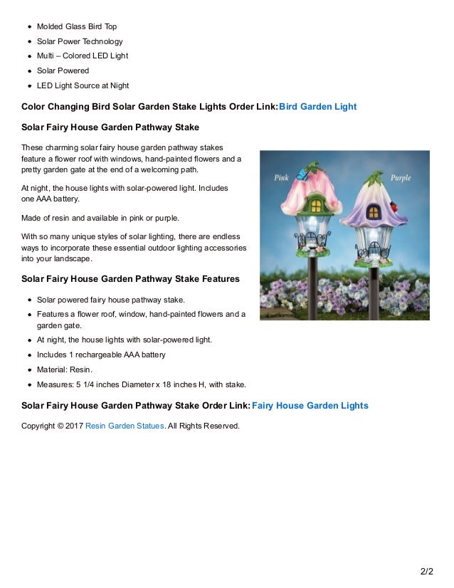 Color Changing Bird Solar Garden Stake Lights Features 1/2; 2.