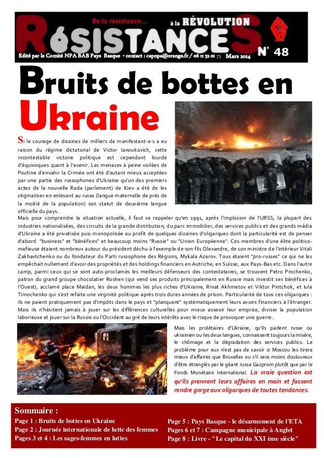 ONNE ANNÉE/0  Edité par le Comité NPA BAB Pays Basque - contact : capnpa@orange.fr / 06 11 52 01 75 Mars 2014  48  Bruits ...