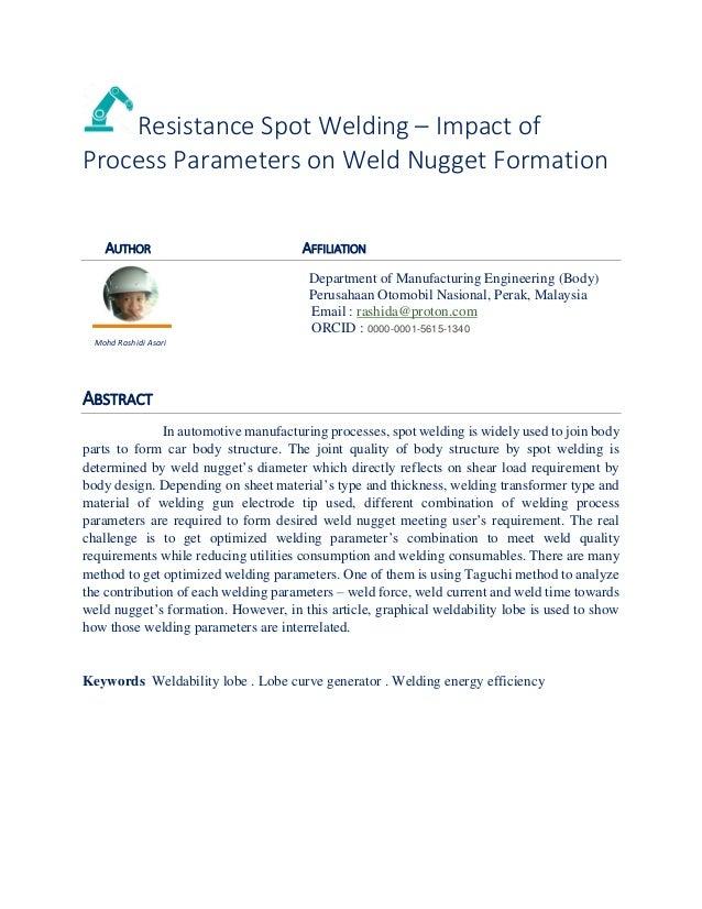 Spot welding basic parameters setting  - basic calculations / equatio… spot welding process parameters
