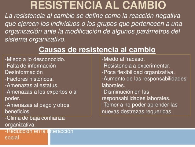 RESISTENCIA AL CAMBIOLa resistencia al cambio se define como la reacción negativaque ejercen los individuos o los grupos q...