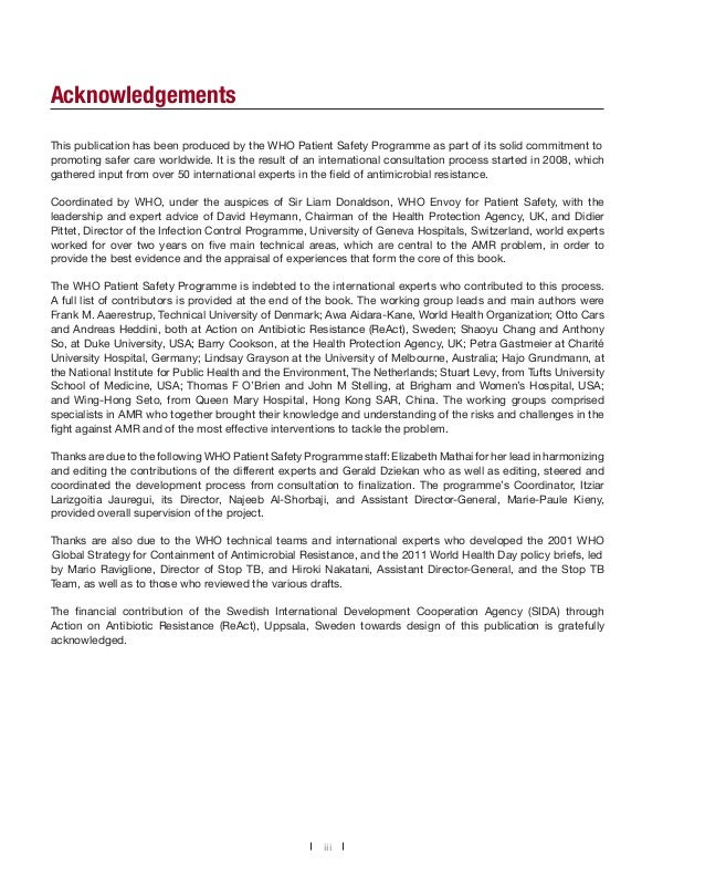 Acknowledgements This publication has been produced by the WHO Patient Safety Programme as part of its solid commitment to...