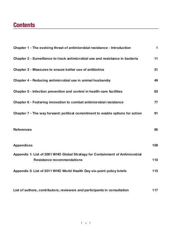 Contents  Chapter 1 - The evolving threat of antimicrobial resistance - Introduction  1  Chapter 2 - Surveillance to track...