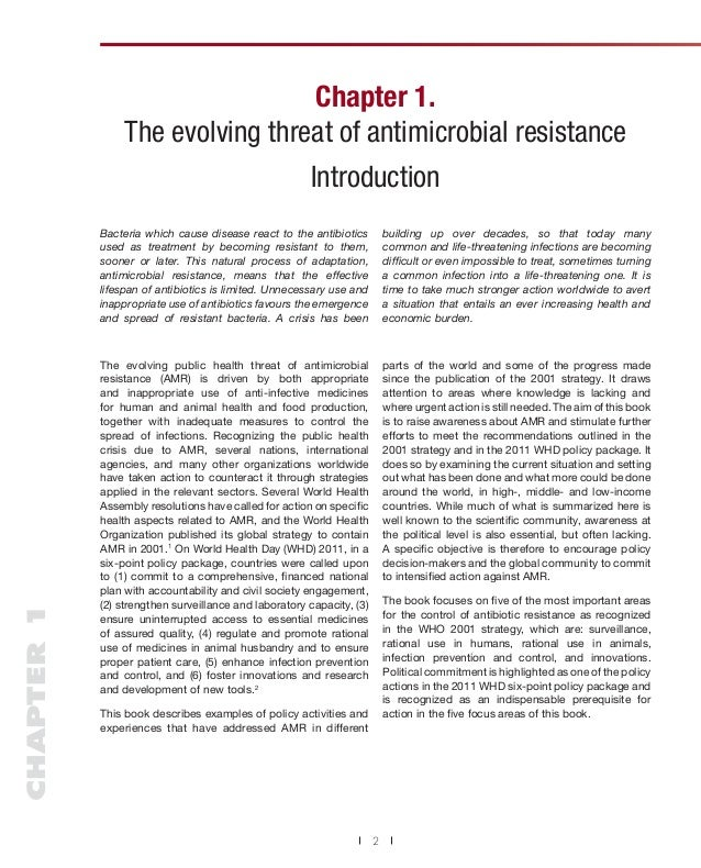 Chapter 1. The evolving threat of antimicrobial resistance Introduction  CHAPTER 1  Bacteria which cause disease react to ...