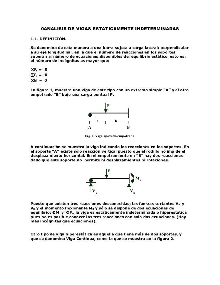 0ANALISIS DE VIGAS ESTATICAMENTE INDETERMINADAS1.1. DEFINICIÓN.Se denomina de esta manera a una barra sujeta a carga later...